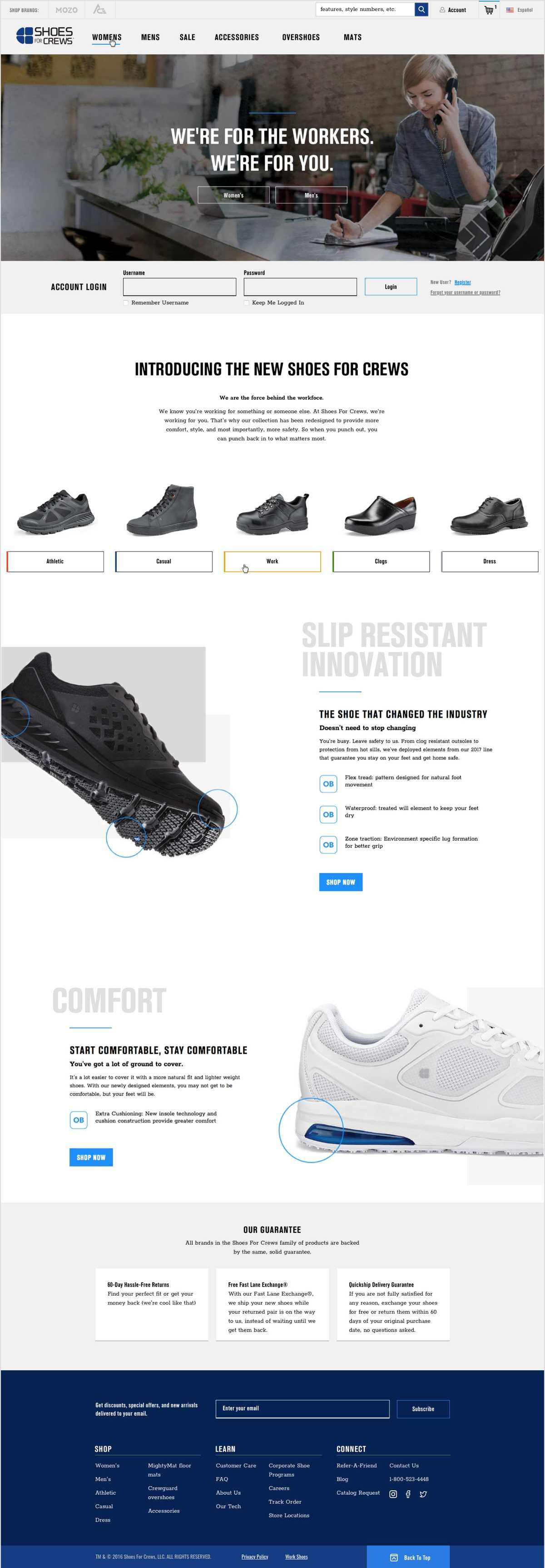 Screenshot of the full Shoes For Crews product page showing different sections including images of the shoe, pricing, features, and reviews.