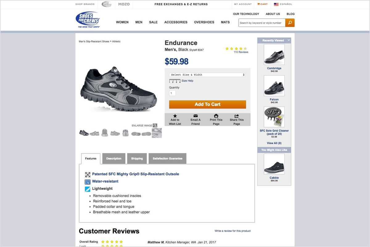 A screenshot of the Shoes For Crews website product page before this project. The layout is cluttered with lots of content.